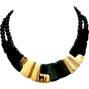 SALE Napier Black Lucite Thermoset & Gold Plated Sculptural Modernist Collar Necklace 1980