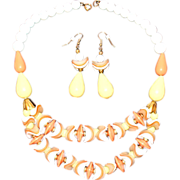 SALE Vintage New Old Stock Lucite Beaded Draped Bib Necklace & Matching Earrings Set