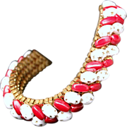 SALE Vintage 1950s Red & White Peppermint Glass Beaded Gold Tone Mesh Bracelet