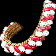 SALE Vintage 1950s Red & White Peppermint Glass Beaded Gold Tone Mesh Bracelet