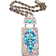 SALE Vintage 1960's-1970s Runway Brilliant Blues Rhinestone Hinged Pendant Necklace