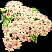 SALE Vintage 1940s Enamel & Rhinestone Daisy Floral Pin Brooch