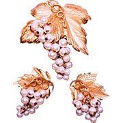 SALE Vintage Eugene Bertolli for Napier Danish Grape Leaf Faux Pearl Brooch & Earring Demi