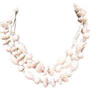 SALE Vintage Carved Cream Celluloid Hand Knotted Beaded Flapper Necklace 54""