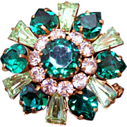 SALE Vintage 1940s Tri-Level Glass Rhinestone Pin/Brooch with Heart & Keystone Shaped Stones