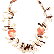 "SALE Vintage CADORO Genuine Mother-of-Pearl and Red Abalone 28"" Statement Necklace 1960s"