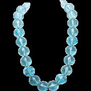 SALE Vintage Napier Tropical Blue Resin Lucite Beaded Necklace 1992 Miami Collection