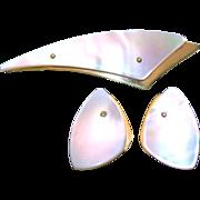 SALE Vintage German Made Art Deco Style Mother-of-Pearl Pin/Brooch & Earrings Set ...