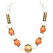 SALE Vintage Les Bernard Stunning Celluloid Beaded Necklace -- French Ivory Beads, Gold Marble