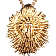 SALE Vintage Signed CINER Early 1950s Mid-Century Modernist Atomic Brooch/Pendant on Necklace
