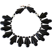 SALE Vintage Art Deco Style Black Lucite Thermoset Necklace with Rhinestone Ball & Crystal ...
