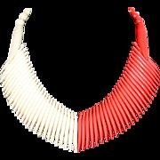 SALE Vintage 1950s Art Deco Style Lucite Thermoset Coral Orange & Cream Bib Collar Necklace
