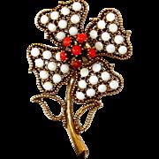 "SALE Vintage Pauline Rader ""MOD"" White Lucite Flower Pin Brooch Heavy Antique Gold Plated"