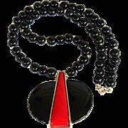 SALE Vintage Mid-Century Modern Black & Red Lucite Thermoset Pendant Necklace