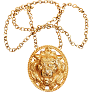 SALE Vintage Napier Gold-Plated Lion Head Pendant & Gold Filled Chain by Francis Fujio, 1970s