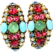 SALE Vintage HOLLYCRAFT (Unsigned) Glass Cabochon & Rhinestone Semi-Hoop Clip Earrings 1950s