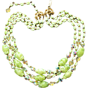 SALE Vintage Hobé Light Lime Green Beaded Necklace Givré Glass, Aspirin-Cut AB Rhinestones &