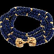 Vintage Kenneth Jay Lane (KJL) for Avon Faux Lapis Lazuli Lucite Beaded 2-Strand Necklace ...