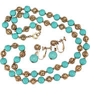 Vintage Napier Chain Strung Turquoise Lucite & Filigree Beaded Sautoir Necklace & Earrings Dem