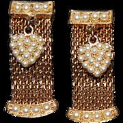 Vintage 1950s Leru Gold-Tone Mesh Earrings with Dangling Faux Pearl Hearts