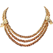 Vintage Napier Heavy Rope Chain Multi-Strand Tiered Necklace 1950s