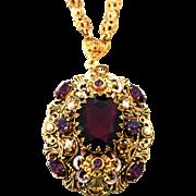 Vintage 1950s West Germany Purple Rhinestone & Filigree Pendant Necklace