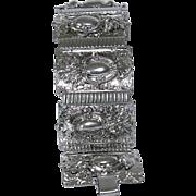 Vintage Signed Marino Victorian Revival Repoussé Style Book Chain Link Panel Bracelet 1950s
