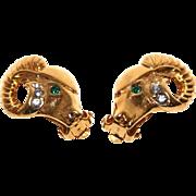 Vintage Signed K.J.L. Kenneth Jay Lane for Avon Rams Head Clip Earrings