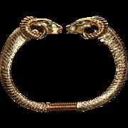 Vintage Signed K.J.L. Kenneth Jay Lane for Avon Rams Head Clamper Bangle Bracelet