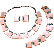 Vintage Charel Art Moderne Style Moon Glow Lucite Thermoset Demi Parure Necklace, Bracelet & .