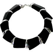 "Vintage Napier Black Resin Silver Tone Collar Necklace ""Metro Chic"" Book Piece"