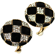 Vintage 1980s Nina Ricci Black Enamel & Crystal Rhinestone Domed Button Clip Earrings
