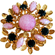 Vintage Austrian Pink Art Glass & Black Rhinestone Floral Pin/Brooch Signed