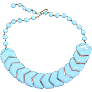 Vintage Western Germany Sky Blue Lucite Thermoset Chevron Collar Necklace 1950s