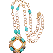 Judith McCann Bold Pendant/Brooch Necklace with Peking Glass Beads & Glass Pearls 1960s Vintag