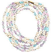 Les Bernard Vintage 3-Strand Necklace with Glass Pearls and Gemstones