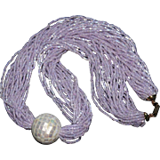 Hobé Lavender-Pink Glass Seed Bead Multi-Strand Necklace with Mother-of-Pearl Focal Vintage .