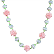 Vintage 1940s Pink Celluloid Flower Necklace with White Beads & Metal Green Leaves