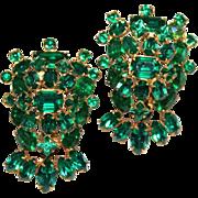 Vintage Tiered Emerald Green Rhinestone Matching Brooch/Pin Set Hook & Eye Construction