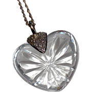 Vintage Kenneth Jay Lane Orrefors Sweden Crystal Heart Pendant & Chain