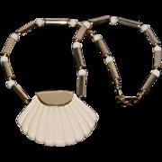 "SALE Napier Vintage Thermoset Lucite Shell Pendant Necklace ""Ivory Collection"""