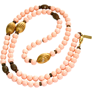 SALE Pauline Rader Faux Angel Skin Coral Lucite Beaded Necklace with Gold Wash Beads