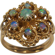SALE Victorian Revival Etruscan Style Natural Glowing Opal Cluster 14K Yellow Gold Ring