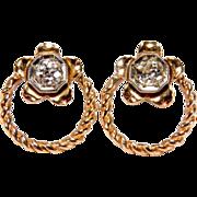 SALE 0.50 Carat 14K Rose Gold Old Mine Cut Diamond Earrings With Floral Design