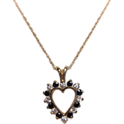 SALE Estate 10K Yellow Gold DIamond and Sapphire Heart Necklace