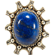 SALE Estate Sterling Silver Large Lapis Cabochon Ring