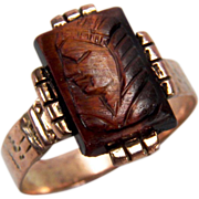 SALE Victorian Carved Tiger's Eye Pharaoh 10K Yellow Gold Ring