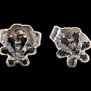 SALE Vintage Diamond 14K White Gold Diamond Stud Earrings