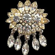 SALE Vintage Tiered Clear Rhinestone Dangle Brooch