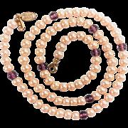 SALE Vintage MIRIAM HASKELL Fauz Creamy Pearl and Purple Beaded Single Strand Necklace